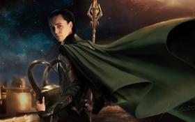 Картинка небо, бог, шлем, копье, плащ, Loki