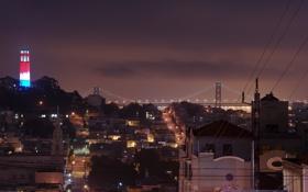 Обои ночь, огни, california, калифорния, night, san francisco