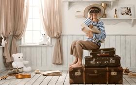 Картинка мальчик, самолёт, гитара, чемоданы, карты, бинокль, полки