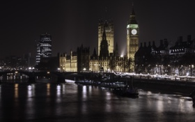 Картинка ночь, огни, Лондон, Биг-Бен, photographer, парламент, величие