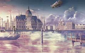 Картинка закат, мост, лодка, Девушка, дирижабль, дворец