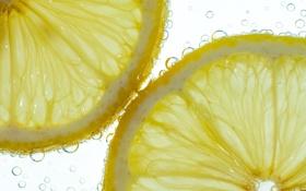 Картинка пузырьки, лимон, еда, жидкость, долька