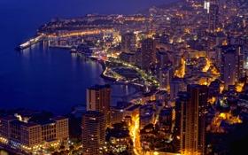 Обои дома, вечер, порт, Monaco, улицы, Монако, Монте Карло