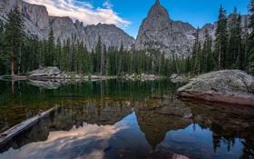 Картинка камни, скалы, небо, облака, озеро, деревья, природа