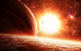 Обои поверхность, звезда, планеты, спутники
