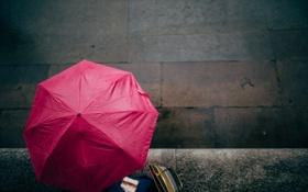 Обои girl, woman, umbrella, pink, cold, female, sandwiches