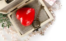 Картинка сердце, ключ, шкатулка, бусы