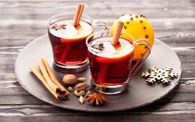 Обои чай, апельсин, чашки, корица