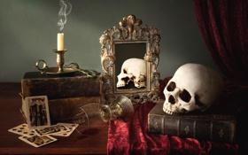 Обои карты, бокал, книги, череп, свеча, зеркало, натюрморт