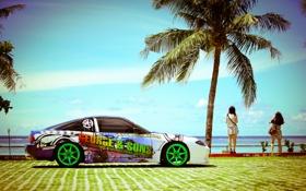Обои пальма, тюнинг, профиль, белая, S15, Silvia, Nissan