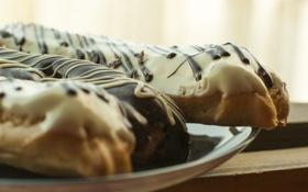 Обои еда, сладости, вкусно, белый шоколад, эклер