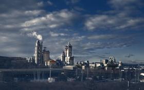 Обои трубы, завод, дым, фабрика, предприятие, Smoking city