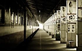 Обои Поезд, станция, плакаты
