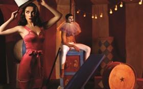 Картинка цирк, гирлянда, фотосессия, цилиндр, акробат, Наталья Орейро, реквизит