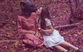 Картинка девушки, маска, яблоко