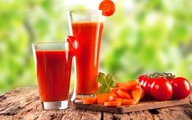 Обои стакан, сок, juice, помидоры, морковь, томатный, tomato