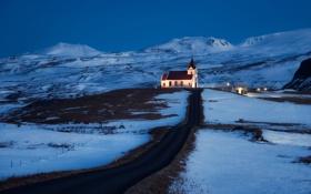 Картинка Lonely Church, Iceland, Snaefellsnesog Hnappadalssysla, Grundarfjoerdur
