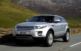 Обои дорога, облака, горы, купе, серебристый, Land Rover, range rover