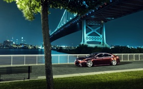 Картинка мост, город, черная, Honda, Accord, хонда, акура