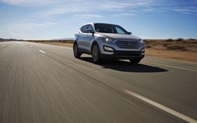 Картинка дорога, небо, спорт, джип, Hyundai, передок, Sport