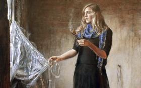 Обои девушка, дым, палочки, окно, блондинка
