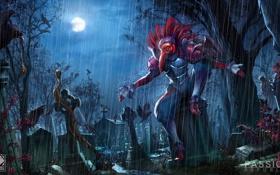 Картинка ночь, дождь, луна, демон, арт, кладбище