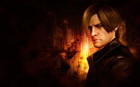 Картинка город, темный фон, огонь, арт, парень, Resident Evil, Leon Kennedy