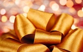 Картинка праздник, лента, бант, золотая
