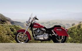 Обои круизер, небо, вид сбоку, Harley-Davidson, харлей-дэвидсон, bike, дюна