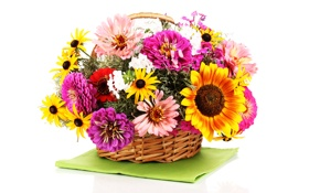 Картинка цветы, корзина, хризантемы, салфетка