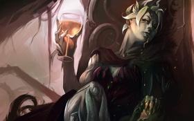 Обои девушка, бокал, арт, демоница, Guild Wars 2