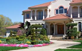 Обои трава, цветы, дом, газон, дорожки, особняк, кусты