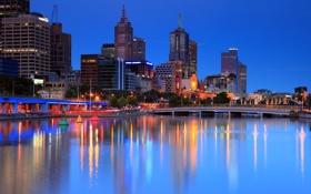 Обои city, дома, вечер, мосты, высотки, Australia, деревья.