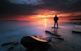 Обои море, пейзаж, ночь, силуэт