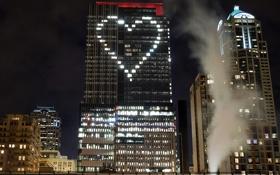 Обои сердце, город, дома