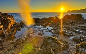 Картинка солнце, лучи, пейзаж, закат, горы, природа, скала