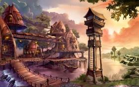 Обои дорога, река, наблюдательный, дома, пост, лодка, поселение