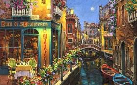 Картинка вода, мост, город, рисунок, здания, картина, лодки