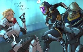 Обои рисунок, Mass Effect, Shepard, Tali, Garrus, маркер