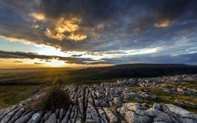 Картинка закат, пейзаж, поле, камни
