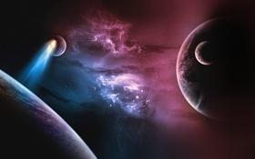 Обои пространство, планеты, комета
