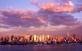 Обои облака, город, панорама