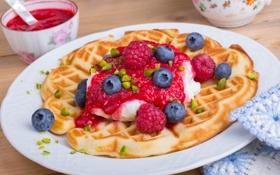 Обои jam, джем, waffles, завтрак, blueberries, орехи, малина