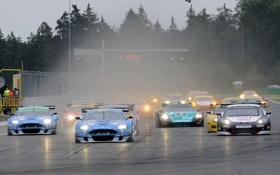 Картинка фары, гонки, время, табло, дым, суперкары
