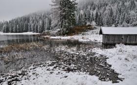 Обои зима, снег, река, сарай, ёлки