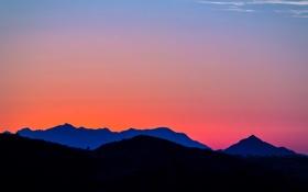 Обои небо, холмы, Закат