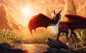 Картинка солнце, закат, горы, пруд, камни, дракон, арт