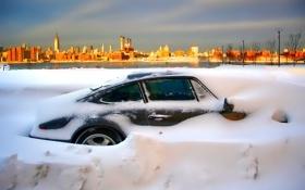 Картинка зима, небо, снег, пейзаж, рассвет, дома, автомобиль