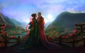 Картинка девушка, любовь, цветы, город, эльф, вид, арт