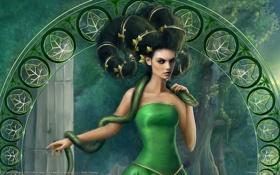 Обои envy, девушка, прическа, змея, листья, зависть, арка